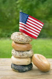 Mix bagel tower with American flag
