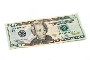 Twenty dollar bill United States currency on white